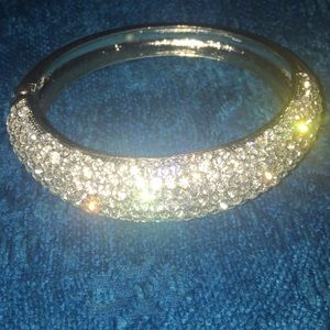 Vintage Rhinestone Bangle Clamper Bracelet